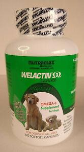 Welactin 3 Canine Softgel Caps 120 Capsules Nutramax Skin & Coat Exp 1/2022