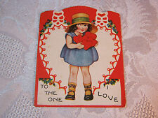 Valentine Embossed With Girl & Heart Valentine Vintage Card T*
