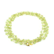 """Necklace natural peridot faceted gemstone 3.5 mm gold plated chain 37"""" long"""