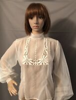 Vintage 1940s Sheer Blouse Lace CutWork Balloon Sleeve Patty Woodard Button Back