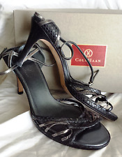 Cole Haan Strappy High Python Heels 9 B Shoe Pewter Black Sling Back BRAZIL $200