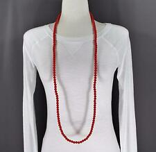 "Red super extra long bead 44"" necklace beaded wrap double look"