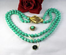 Vintage Prestige 2 STrand Faux Jade Dual CLasp  Necklace CAT RESCUE