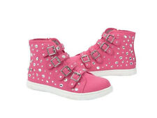 Justice Pink Knit Embellished Jewels High Hi Top Sneakers Shoes Big Girls Size 2