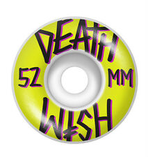 DEATHWISH SKATEBOARD WHEELS 52MM STACKED YELLOW BLACK GANG 4 PACK FAST BAKER NEW