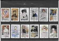 FRANCE 2016. L'ART DU PORTRAIT.SERIE COMPLETE DE 12 TIMBRES AUTOADHE OBLITERES