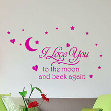 Pink I Love You To The Moon And Back wall Letter decal Baby Girls Room Decor
