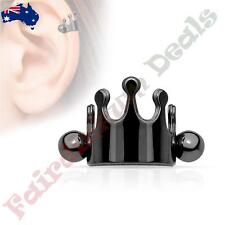 316L Surgical Steel Black Ion Plated Crown Helix / Cartilage Cuff Barbell