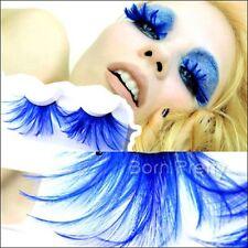 1 Pair Blue Feather Party Stylish Fake Eye Lashes Long Thick False Eyelash Kit