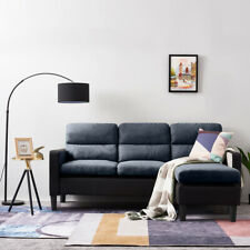 Modern 3 Seater L-Shaped Leather&Fabric Corner Sofa with Footstool Armchair Home