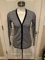 Ralph Lauren Black Label Blue & White Striped Button-Up Cardigan, Size Small