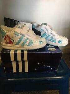 New RARE Adidas Girls Disney Princess Ariel Baby Shoes White Aqua Blue Size 6 K