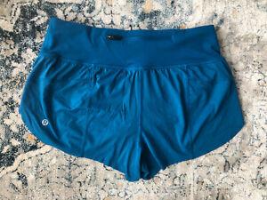 EUC Lululemon Teal Shorts Size 6 EUC Laser Cut Hem