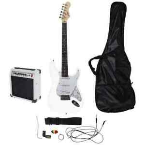 Johnny Brook White Electric Guitar Kit with 20W Colour Coded Combo Amplifier