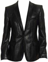 New Men's Snake print Lambskin Leather Blazer Jacket Two BUTTON Leather Coat 33