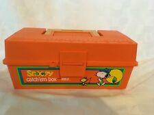 SNOOPY PEANUTS Vintage Catch Em Kid's Orange Tackle Fishing Box by Zebco