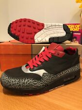 New Nike Air Max 1 NL Premium Cement Print Elephant Black Supreme Leather Sz 9
