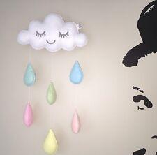 Nube de arco iris de colores pastel gotas de lluvia bebé vivero móvil Colgante de Decoración de pared