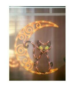 Halloween Lighted Cat on Moon Silhouette Window Decoration - 1 Piece