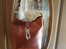NEW Dooney & Bourke Logo Lock Toscana Leather Shoulder Bag, LILY, NATURAL,BROWN