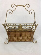 Metal And Wicker Weaved Magazine Basket Holder With Pineapples