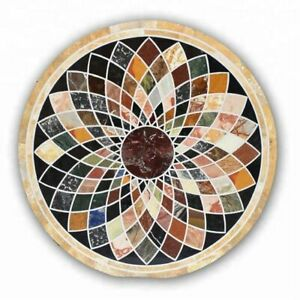 "52"" Marble center top Table semi precious stones pietradura Inlay art Work decor"