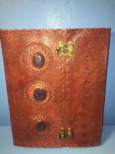 "NEW Handmade Leather Journal 10"" x 13"" Lapis Stones Book Of Shadows Wiccan Latch"