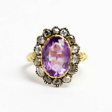 Antiker Amethyst Diamant Ring Amethyst & Diamanten 18K/750 Gold um 1880