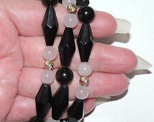 Vintage 14k Gold Beads 10mm Onyx 8mm Rose Quartz Beads Necklace 64.94 Grams 26""