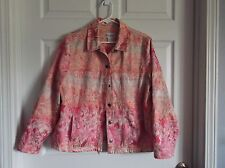 EUC Tanjay womens L jacket. tapestry look, ombre pink/orange/peach colors.