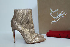sz 7 / 37.5 Christian Louboutin Gold Gipsybootie Sequined Pointy Ankle Boot Shoe