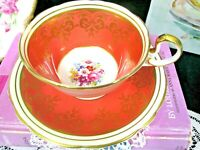 AYNSLEY tea cup and saucer ORANGE and pink rose teacup low Doris shape 20's