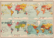 WORLD POPULATION. Races Density Religions Commerce coaling stations 1901 map