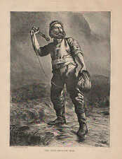 Shipwreck, Lifesaving, The Life Brigade Man, Vintage, 1870 Antique Art Print,