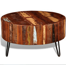 Industrial Coffee Table Reclaimed Wood Furniture Antique Living Room Large Round