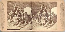 Stereoview of a Group of Indians of Arizona c1880s ~ Family by Adobe Wall & Arch