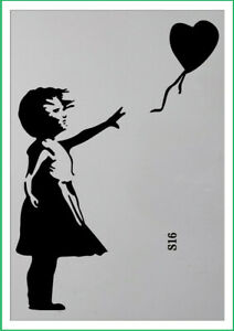 A4 A3 A5  banksy girl with balloon paint spray Reusuable stencil Premium mylar