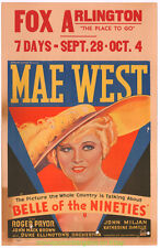 BELLE OF THE NINETIES MOVIE POSTER Window Card 14x22 Inch MAE WEST 1934