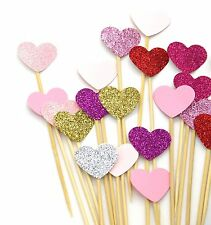 Vincenza Cake Decorating 10 Counts Heart Hearts Party Supplies Cupcake PicksPink