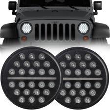 "Eagle Lights Black 7"" Round LED Headlights w/ White DRL for Jeep Wrangler JK TJ"