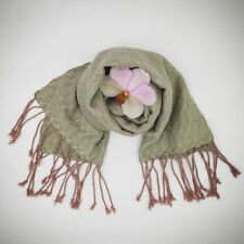 High Quality Women HANDMADE Cotton Silk Long Green Shawl Wrap Stole Scarf