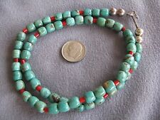 """19.5"""" Vintage Natural South West Turquoise and Coral Bead Necklace  S/S Clasp"""