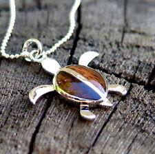 Koa Wood Hawaiian Honu Sea Turtle Silver Rhodium Plated Brass Pendant BRP1045