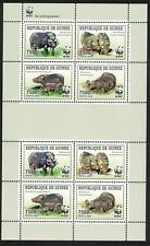 WWF Giant Forest Hog Sheetlet of 2 sets from Guinea MNH MI#6714-6717