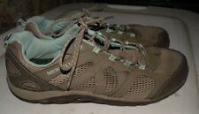 Women's MERRELL Leather & Mesh Vent Gray & Blue Hiking Shoes sz 10