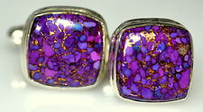 Sterling SILVER Purple Mojave COPPER Turquoise Cufflinks 925 Real Gems Mens Gift