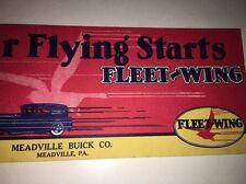 Fleet-Wing Motor Oil Blotter 30s Meadville Pa Buick Gasoline Mini Sign Fleetwing