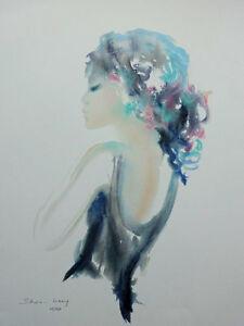 SHAN MERRY :  Beautée de profil - LITHOGRAPHIE signée - numérotée, 250ex