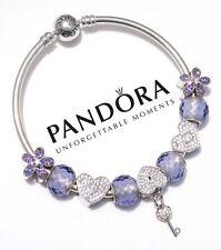 Authentic Pandora Bangle Bracelet Lavender Sterling Silver Stones, Micro Pave CZ