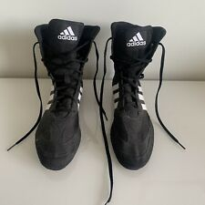 MENS ADIDAS BOXING SHOES TRAINERS UK SIZE 9 BLACK AND WHITE GOOD CONDITION SPORT